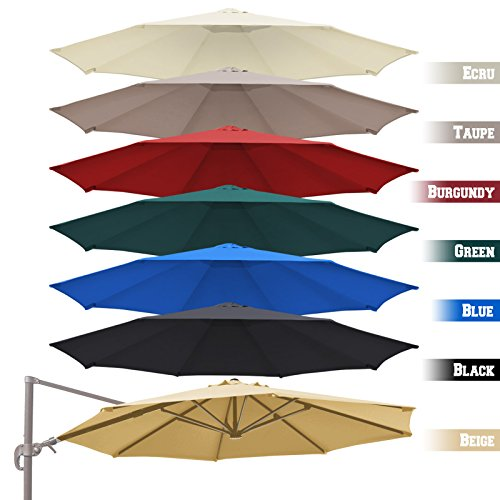 BenefitUSA Replacement Canopy Top Cover for 11.5' Rome Cantilever Patio Umbrella Outdoor Sunshade (White)