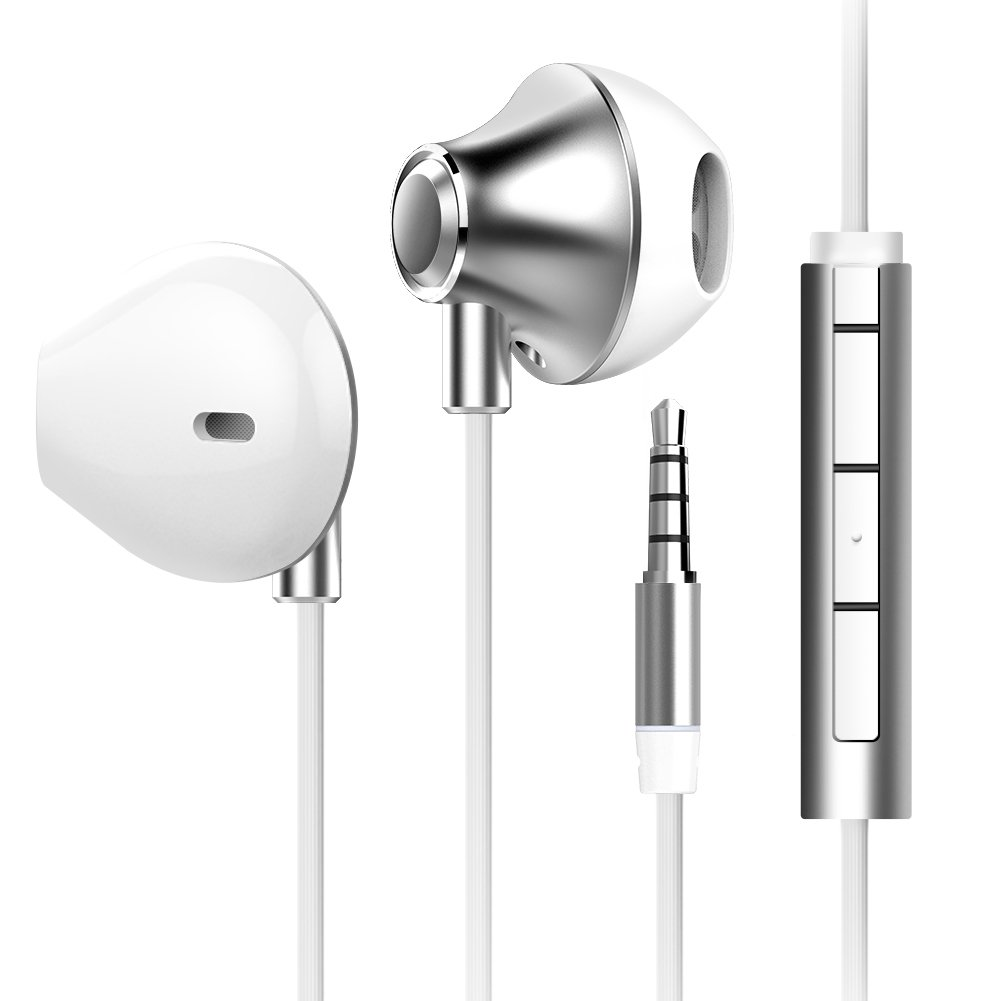 Earphones with Microphone and Remote Volume Contro,Headphones,Powerfull Bass Driven Sound, 14mm Large Drivers for iPhone, iPad, iPod, Samsung and Mp3 players White