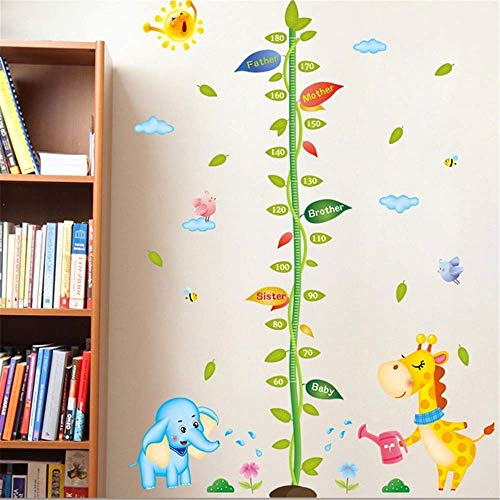 Cartoon Animals Lion Monkey Owl Elephant Height Measure Wall Sticker for Kids Rooms Growth Chart Nursery Room Decor Wall Art175cm125cm -