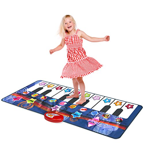 Kidzlane Durable Piano Mat, 10 Selectable Sounds, Play and Record, for Kids 2 to 5, Dance and Learn]()