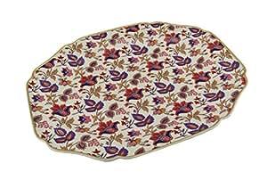 Zeckos Ceramic Decorative Platters Wade Ceramics American Masala Jaipur In Cream Platter 17.5 X 11.75 X 1 Inches Multicolored