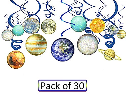 Solar System Hanging Decoration Space Birthday Banner Solar System Themed Space Decorations Whirls Hanging Swirl for Kids (30Pack)