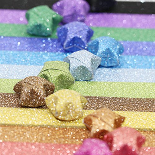 Origami Stars Papers Package DIY Paper, 360 Sheets - 18 Colors ( Glitter Origami Stars)