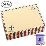 Bolbove Set of 50 Classic AirMail Vintage Style Kraft Paper Postcard Letter Envelopes Invitations (Brown)