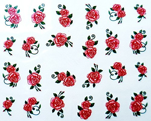 (Set of 5 Water Transfer Nail Art Stickers Decal Beauty Red Peony Rose Flowers Design)