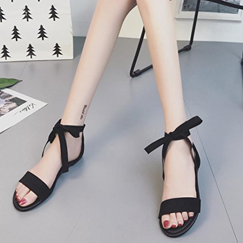 Lolittas Women Gladiator Flatform Sandals, Embellished Black Suede Strappy Wide Fit Open Toe Slingback Shoes Size 2-6 Black