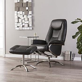 Amazon Com Furniture Hotspot Black Recliner And Ottoman