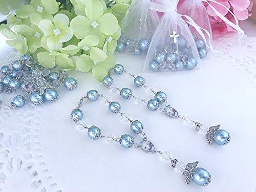 30 Victorian Blue Angel Baptism Favors/ rear View mirror charms/Recuerdos de Bautizo En Perla Azul con Angel by Baptism Favors And Wedding Lassos