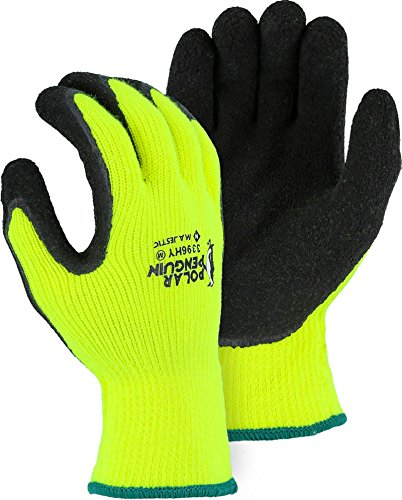 (12 Pair) Majestic WINTERHIGH VISIBILITY YELLOW KNIT GLOVES WITH RUBBER PALM - SMALL(3396HY/ 8)
