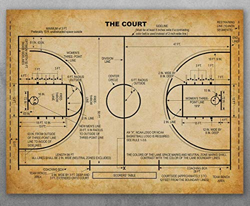 Brown Sign T-shirt - Poster - Basketball Court - Choose Unframed Poster or Canvas - Makes a Great Gift to Basketball Coaches