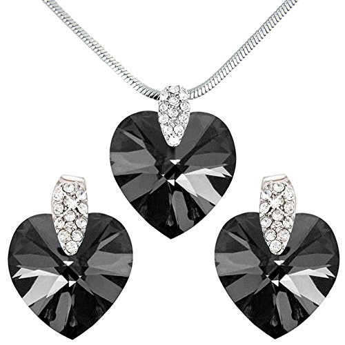 (Pretty Black Crystal Heart Necklace and Earring Set - Swarovski Elements Crystals - Silver Tone - Gift Present for Her)