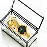 Small Black-in Vintage Mosaic Glass Lidded Box Edge Bracelet Keepsake Decorative Jewelry Display Personalized Large Clear Rectangle Box Rings Bracelet Organizer Home Decor