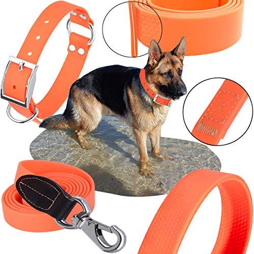 Dog Collar Leash Set, Adjustable Pet Training Combo, Water/Moisture/Mold-proof Padded Handle Matching Loop, 47
