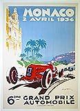 Monaco 1934 Grand Prix Vintage Car Poster by Geo Ham Sports Art Poster Print by Geo Ham, 26x38