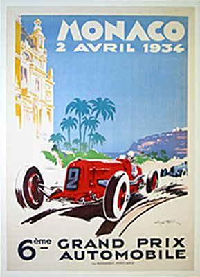 Monaco 1934 Grand Prix Vintage Car Poster by Geo Ham Sports Art Poster Print by Geo Ham, ()