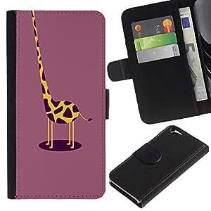 KLONGSHOP / Tirón de la caja Cartera de cuero con ranuras para tarjetas - Plum Yellow Drawing - Apple iPhone 6 4.7