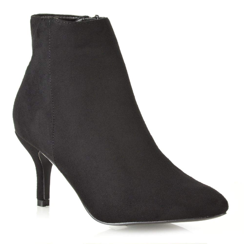 57925e774e Womens Ankle Boots Low Mid Kitten Heels Ladies Zip Pointy Booties Shoes  Size: Amazon.co.uk: Shoes & Bags