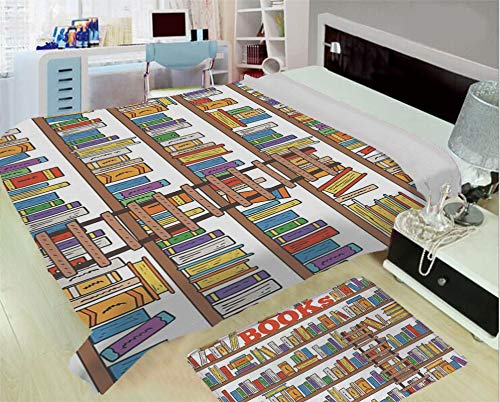 - iPrint Heating and Thickening High-Grade Blankets,Modern,Library Bookshelf with A Ladder School Education Campus Life Caricature Illustration,Multicolor,One Side Printing,Excess Value
