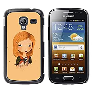 LECELL--Funda protectora / Cubierta / Piel For Samsung Galaxy Ace 2 I8160 Ace II X S7560M -- Sweet Girl Bird Child Mother Art Drawing --