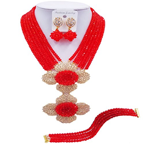 Costume Indian Bridal Jewelry (aczuv 6 Rows African Beads Jewelry Set Crystal Nigerian Wedding Necklace Set Bridal Jewelry Sets (Red))