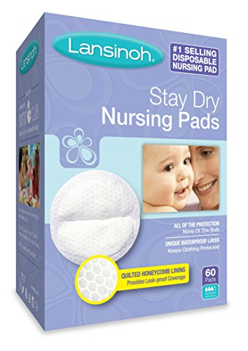 : Lansinoh Stay Dry Disposable Nursing Pads, Number One Selling Breastfeeding Pad For Breastfeeding Mothers, Leak Proof Protection, Maximun Comfort and Discretion, 4 Packs of 60 Count (240 Count)