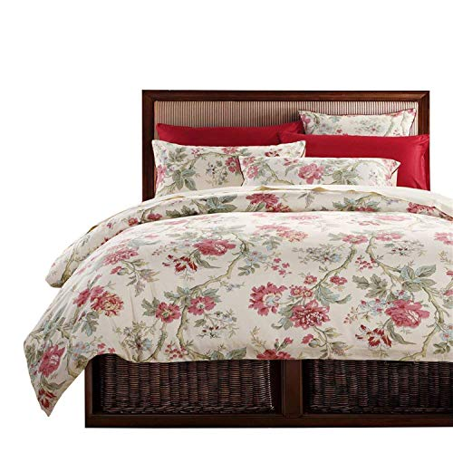Brandream Peony Floral Duvet Quilt Cover Set Twin Size 100% Egyptian Cotton Beddding 3 Pieces French Country Garden Chinoiserie Style Home Collections