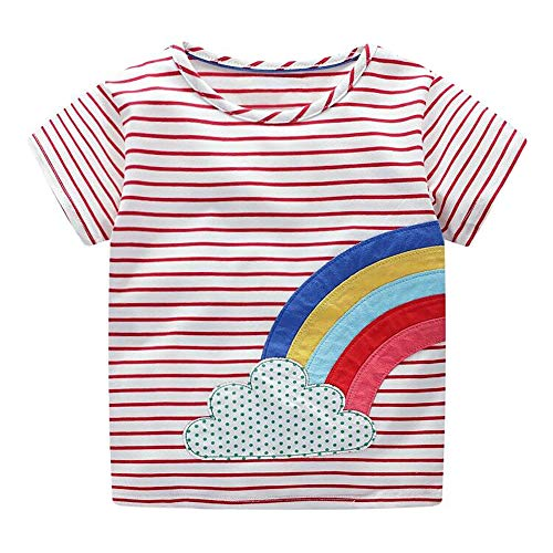 DYW Toddler Girls Short Sleeve T-Shirt Round Neck Cute Graphic Cotton Tees 2-7 Years (Rainbow Stripe, 6T) Cute Graphic Toddler T-shirt
