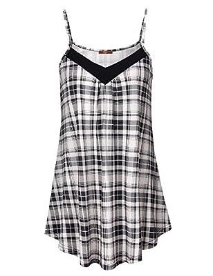 Gaharu Women's Summer Sleeveless V Neck Pleats Loose Casual Plaid Cami Tank Top