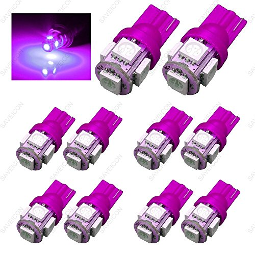 SAWE - 168 194 2825 T10 W5W 5050 5-SMD LED License Plate Dome Map Lights Bulbs (10 pieces) (Pink/Purple)