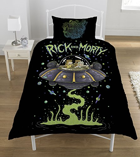 Dreamtex Reversible 135cm x 200cm 52% Polyester Twin Duvet Cover Rick and Morty UFO Spaceship by Ricky And Morty