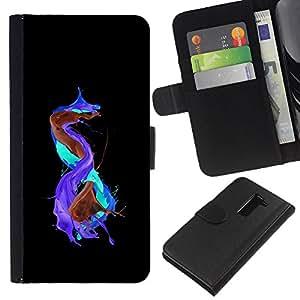 KLONGSHOP // Tirón de la caja Cartera de cuero con ranuras para tarjetas - Resumen de color salpicaduras - LG G2 D800 //