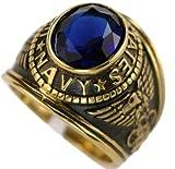 US Navy Blue CZ 18K Gold Overlay Men's Ring size 8 9 10 11 12 13