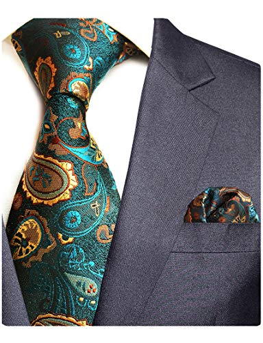 (GUSLESON Brand New Paisley Silk Tie and Pocket Square Set Mens Necktie for Wedding)