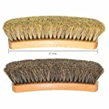 """8"""" Large Professional Shoe Shine, Buff Brushes. For Boots, Shoes & Other Leather Care. 100% Horsehair Bristles. 2-pack."""