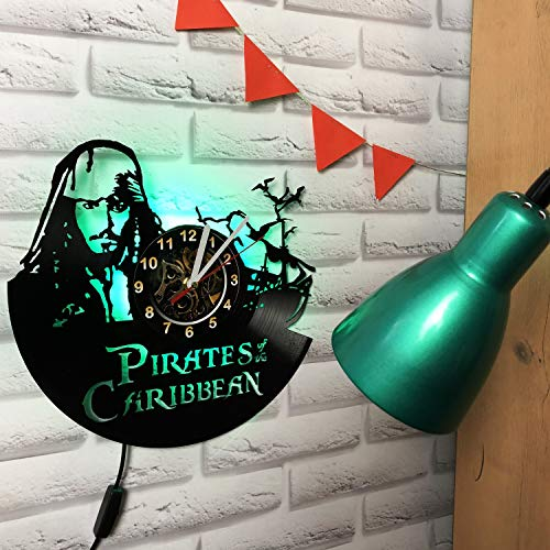 Pirates Of The Caribbean Jack Sparrow LED Wall Clock Made of Vinyl Record - Decor Original Design - Great Gifts idea for Birthday, Wedding, Anniversary, Women, Men, Friends, Girlfriend Boyfriend