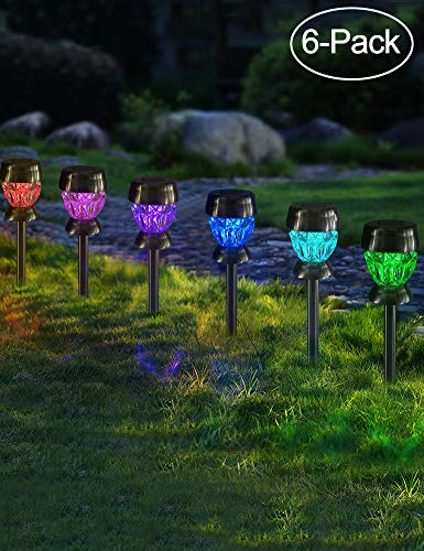 Bright Zeal 6-Pack Landscape Path Lights Solar Powered LED Lights – Color Changing Solar Lights Outdoor Decorations for…