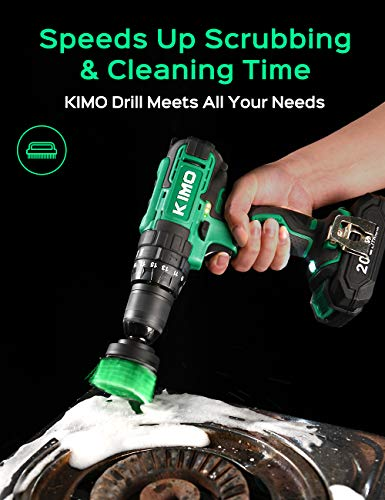 KIMO Cordless Drill Driver Kit, 20V Impact Drill Set w/Lithium-ion Battery/Charger & Cleaning Brush, 350 In-lb Torque, 3… 2