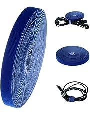 HIMRY 15 meter x 15 mm Klittenband Kabel Netjes, Herbruikbar en Losbaar, Flexibel Afknipbaar, Zelfklemmende Kabelbinder Kabelhouder Kabel Management Bundelen, Blauw, KXB5011 Blue