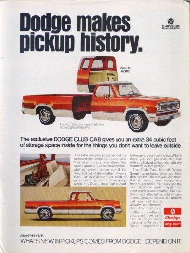 Dodge makes pickup history Club Cab ad 1973