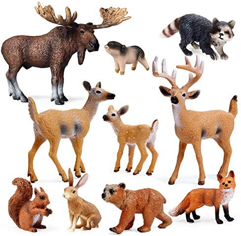 UANDME 10pcs Forest Animals Figures Woodland Creatures Figurines Miniature Toys Cake Toppers