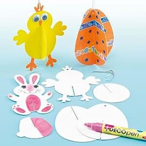 Figuras de Pascua en 3D para Pintar Decorar y Colgar Manualidades Creativas para Niños Perfectas como Decoraciones de Fiestas de Primavera (Pack de 12)