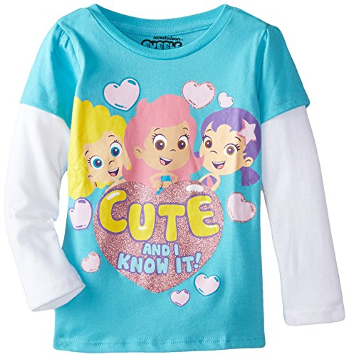Nickelodeon Little Girls' Bubble Guppies Cute and I Know It Puff Two-Fer T-Shirt, Turquoise/White, 3T