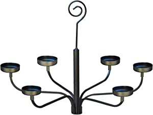 smtyle Hanging Candle Chandelier for Set of 6 Tealight Candle Metal Wall Sconce for Indoor or Outdoor Black