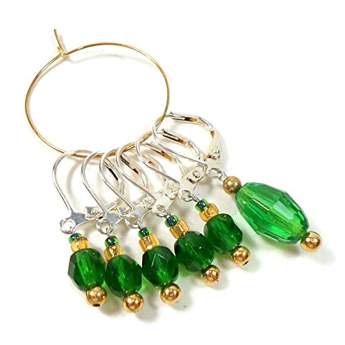 Marker Knitting Beads - Removable Locking Stitch markers for Crochet and Knitting Emerald Green Glass Kelly Green