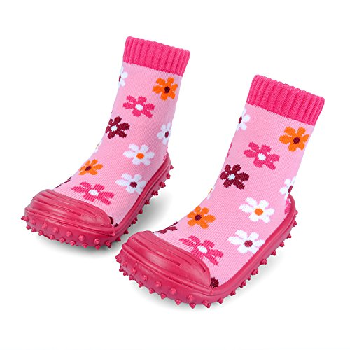 iEndyCn Anti-slip Floor Socks Boots Floral Baby Socks With Rubber Soles For Children Cotton Shoes (About 12 cm, -