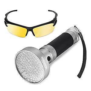 Negro Linterna Luz, 100 LED de Luz UV Ultravioleta Detector de Manchas De Mano con Gafas de Seguridad UV Para Detectar Escorpiones Orina de Gato Perro ...
