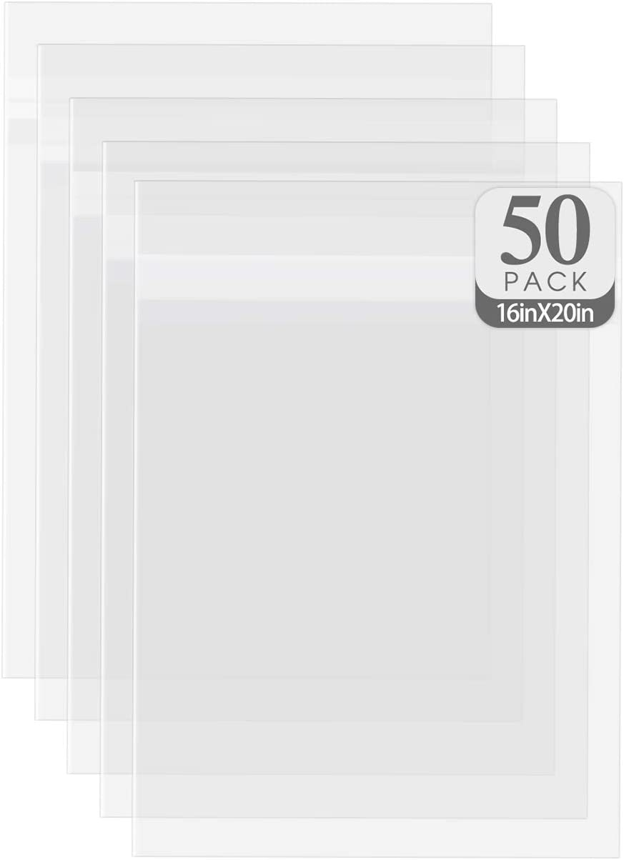 Golden State Art, Acid-Free See-Through Sleeves Storage Clear Bags for Photo Framing Mats Mattes (16 3/8x 20 1/8 inches for 16x20 Photo Mats, Set of 50)