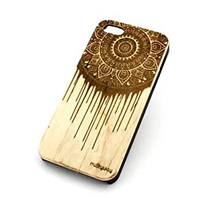 """Genuine Wood Case Snap On Cover for Apple IPHONE 6 (4.7"""") - """"Dripping Mandala Dreamcatcher"""" mayan aztec dream catcher hindu tribal paint ethnic"""