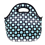 Neoprene Blue Dot Lunch Tote Bag - Insulated Waterproof Lunch Box for Women, Adults, Kids, Girls, and Teen Girls - Homwe