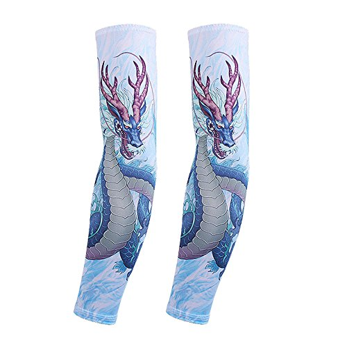 Actual Tattoo Arm Sleeve Men and Women Protection Breathable Outdoor Basketball Sports Wrist Sunscreen Keep Warm Fishing (Halloween Chibi Maker)